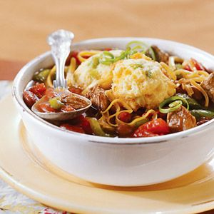 Family-Style Chili and Corn Bread Dumplings From Better Homes and Gardens, ideas and improvement projects for your home and garden plus recipes and entertaining ideas.