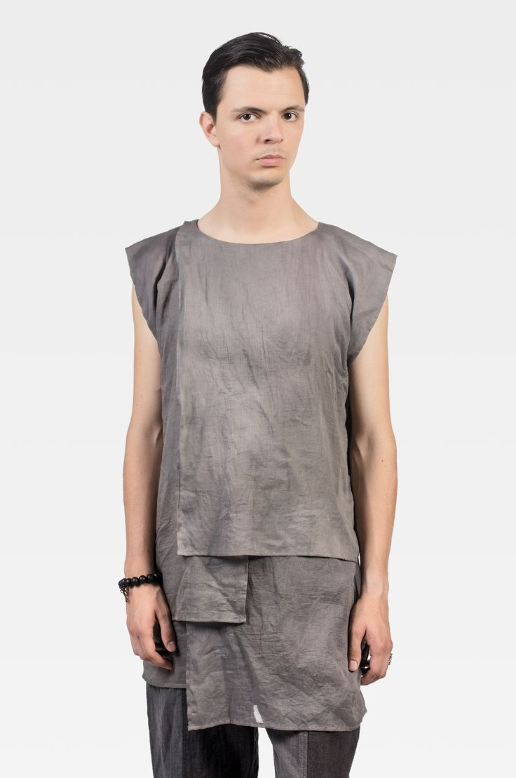 Grey layered sleeveless shirt