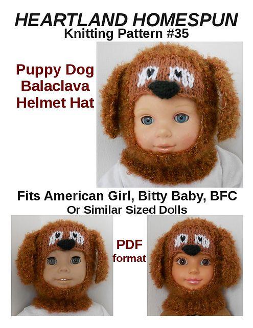 Heartland Homespun #35 Puppy Dog Balaclava Hat for American Girl, Bitty Baby,...