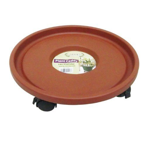 Garden Odyssey PLYCA014AS Plastic Plant Caddy with 4 Piece Heavy Duty Casters, Terracotta, 12-Inch by Garden Odyssey. $11.23. For both indoor and outdoor use. Plant caddy. Available in terra cotta color. Measures 12-inch diameter. Made of plastic. This plant caddy is made of plastic. Durable plant caddies that come with 4 piece heavy duty casters. These caddies are great for both indoor and outdoor use. They come in a free standing, cardboard merchandiser for ea...