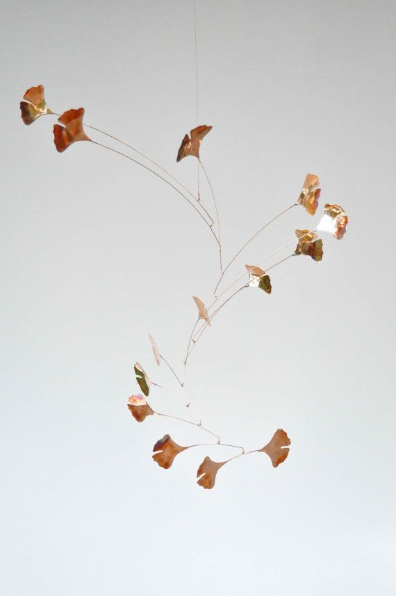 Copper Mobile Handmade Copper Mobile w Ginkgo Leaves by jfjones, $145.00