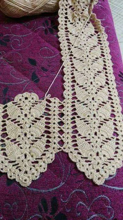 Crochet strip with leaf pattern.  Table runner, curtain tie back
