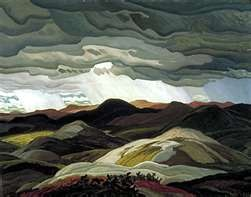 'Snow Clouds' (1938) by the youngest member of the Group of Seven, Canadian painter Franklin Carmichael (1890-1945). via Historic Canada