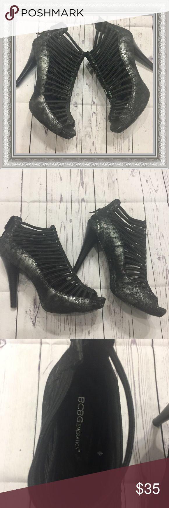 EUC!!! BCBGeneration Metallic Snakeskin Heel Worn only once!! Sole's have minimal scuffing! BCBGeneration Caged Elastic Metallic Snakeskin Heel. Peep Toe. Back Zipper. Hidden Platform. BCBGeneration Shoes Heels