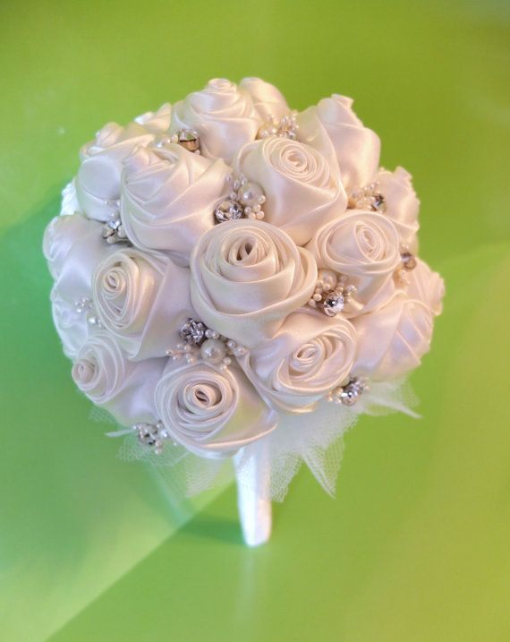 Handmade Ribbon Rose Bouquet White rose by LoveMimosaFleur on Etsy, $125.00