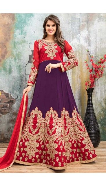 Purple And Red Faux Georgette Anarkali Churidar Suit With Dupatta - DMV14793