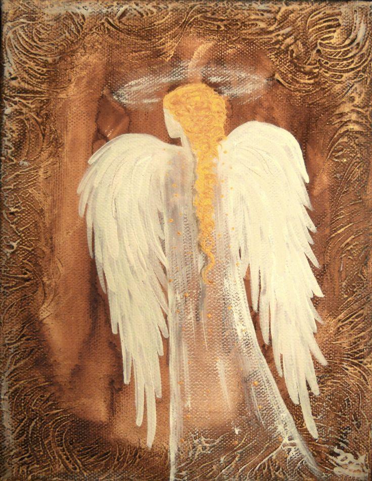Anděl 24x18cm olej na plátně