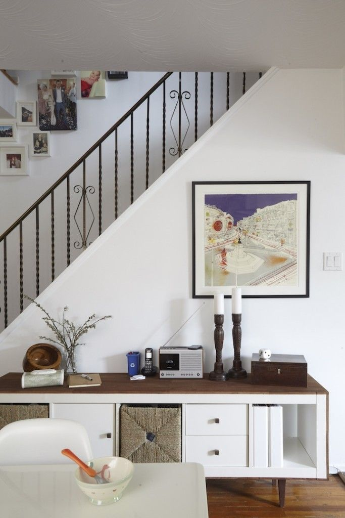 Toronto home tour. ikea hack expedit side board
