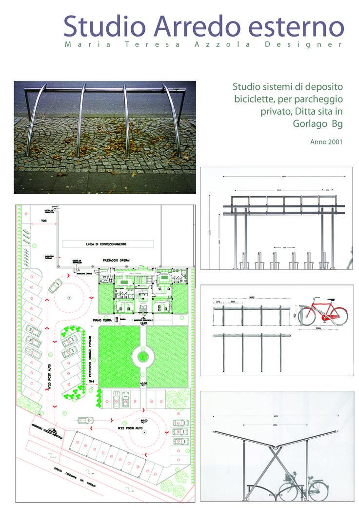 Studio sistemi di deposito biciclette per parcheggio privato - Maria Teresa Azzola Designer - Gorlago (BG) 2001