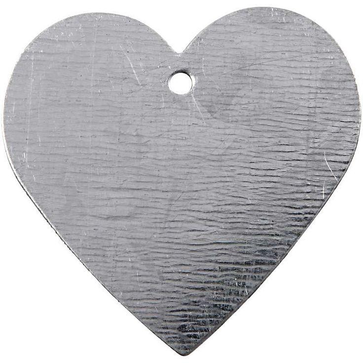 Metallhjerte, str. 30x30 mm, 15 stk.