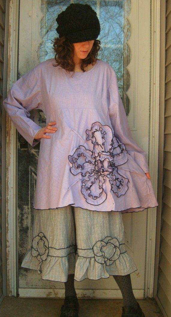 Bias Flower Tunic Shirt