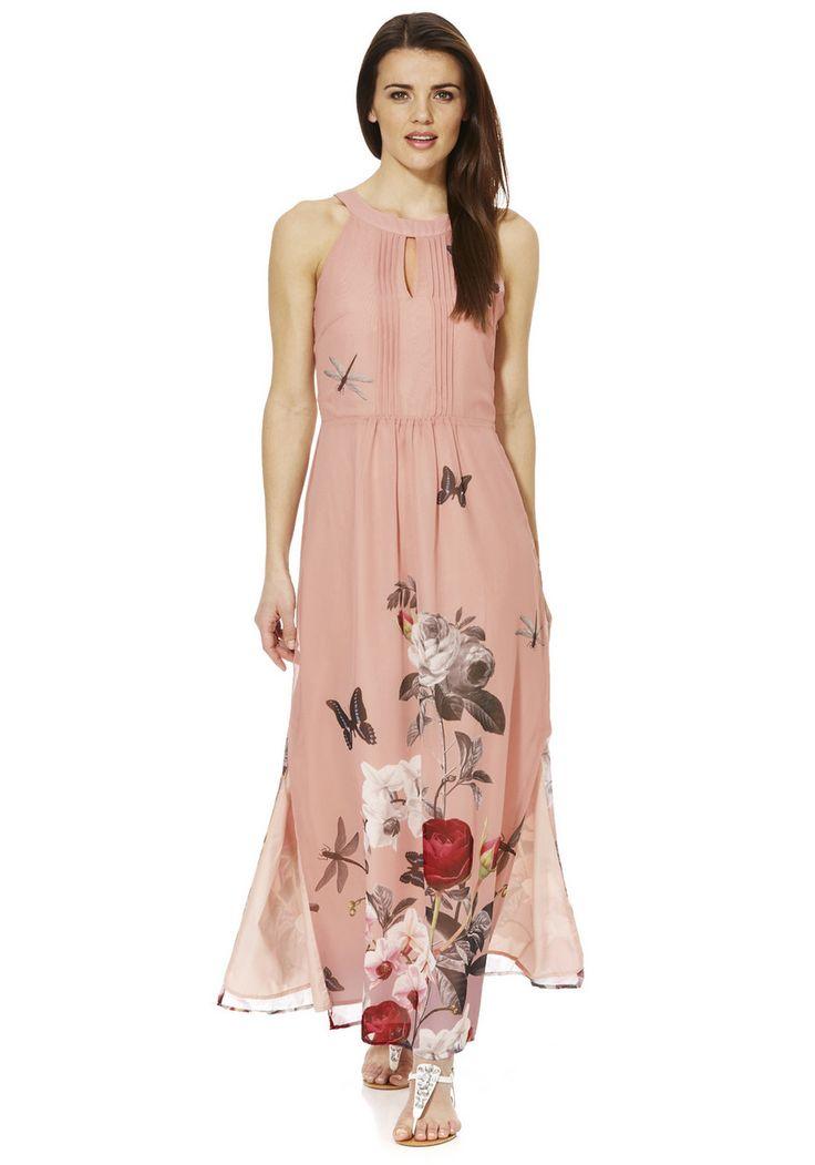 Yumi Rose And Orchid Print Maxi Dress Print Portfolio