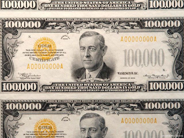 America's largest denomination currency, the 100,000 dollar bill, which is said to be worth about $1,600,000.00 million as of August 2010. The gold certificate note, which bears President Woodrow Wilson's portrait, was used only for official transactions between Federal Reserve Banks. It was not circulated among the general public and cannot be legally held by currency note collectors.
