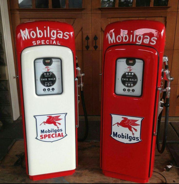 Restored Original Mobil Script Top Gas Pumps