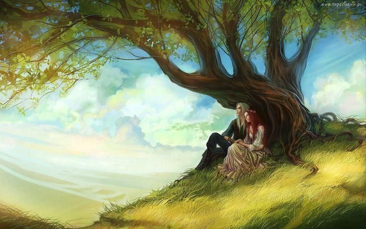 Dziewczyna, Chłopak, Drzewo, Trawa, Niebo