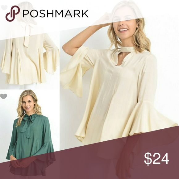 🔜Keyhole Mock Neck Self Tie Bell Sleeve Blouse Beautiful flowy, semi sheer cream color blouse, made of solid rayon. Features mock neck, keyhole neckline and self tie that could be tied in the back or front, 3/4 bell sleeves. Unlined, semi sheer. True to the size. JEVE Fashions Tops Blouses