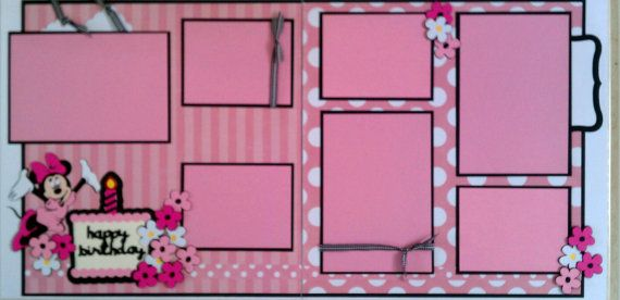 Minnie Mouse birthday 12x12 premade scrapbook by ohioscrapper, $24.00