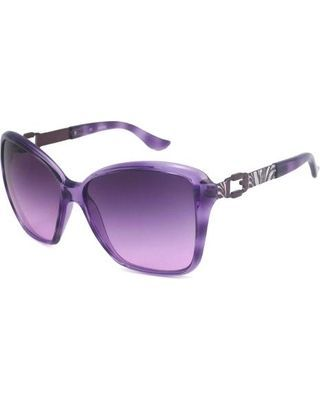 Guess Womens Crystal Purple/violet Gray Rectangular Sunglasses.  Overstock