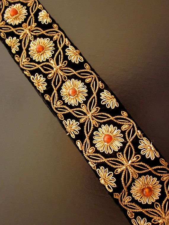 Vintage Wire Embroidered Belt Black Velvet Gold by JeepersKeepers