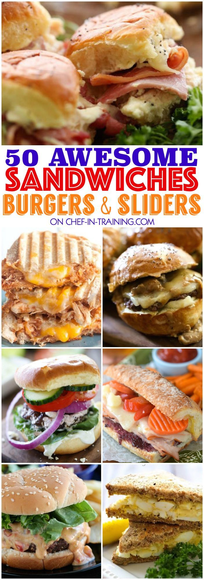 50 Awesome Sandwiches, Burgers and Sliders.... this list is the perfect GO TO for spring and summer! So many yummy unique and delicious options to choose from!