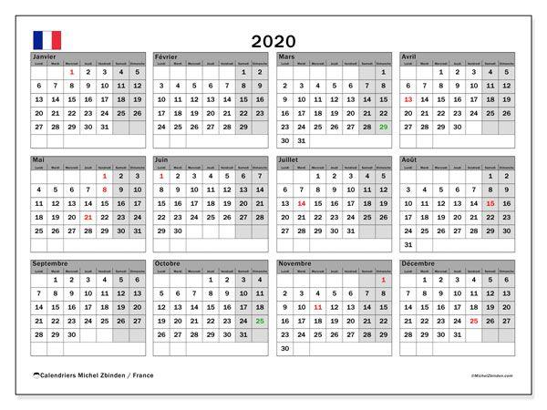 Calendrier 2020 France Calendrier à Imprimer Gratuit