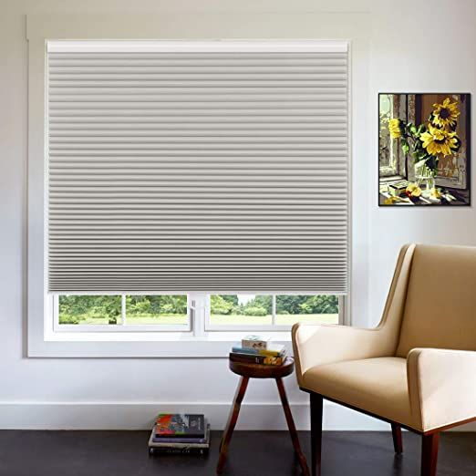 Keego Cordless Cellular Blinds For Window Custom Blackout Cellular Shades 57 1 2 Quot W X 64 Silvery Grey Honeycomb Blinds Honeycomb Shades Cellular Blinds
