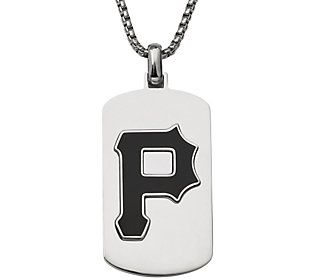 Men's MLB Pirates Stainless Steel Dog Tag withChain
