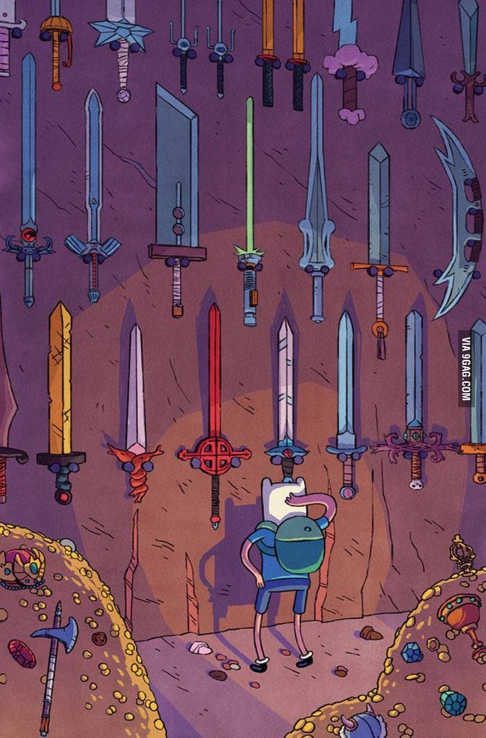 Adventure Time | Finn lol notice clouds sword, lightsaber, and a klingon sword?