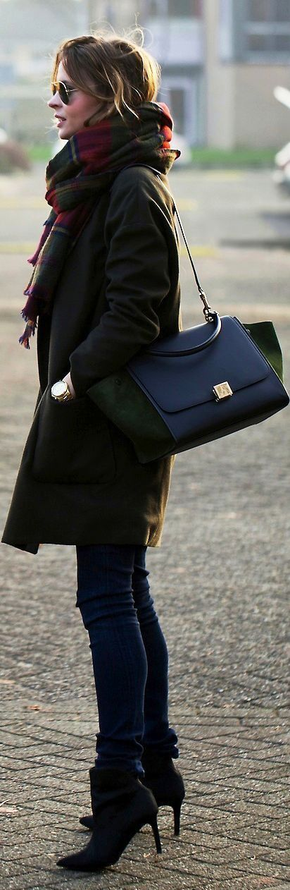 Scarf,Coat,Jeans and BlacK Mid Calf Boots