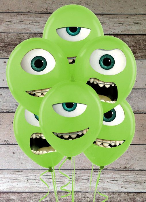 Monsters University Mike Wazowski Eyes and Mouths Printable Birthday Party Sticker for Balloons Decorations & Iron On Transfer Tshirt on Etsy, $5.50