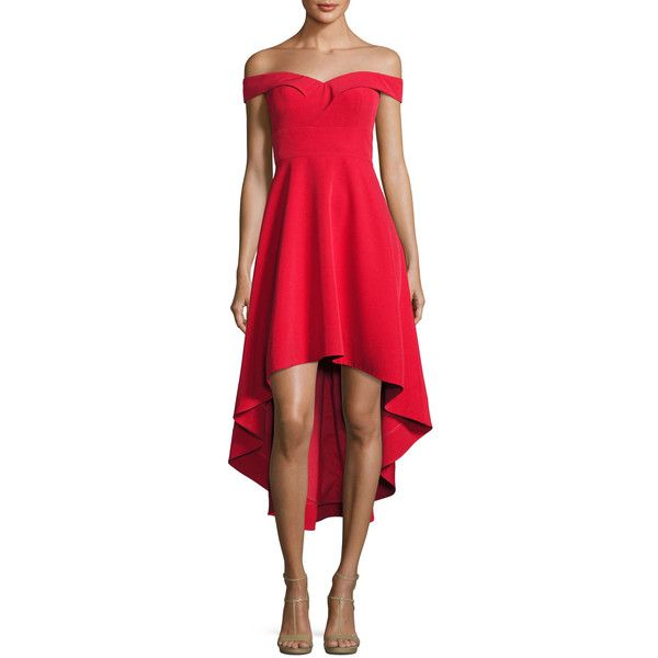 Aidan By Aidan Mattox Off-the-Shoulder High-Low Crepe Cocktail Dress ($245) ❤ liked on Polyvore featuring dresses, red, red cocktail dress, high low cocktail dresses, off shoulder dress, hi low dress and a line cocktail dress