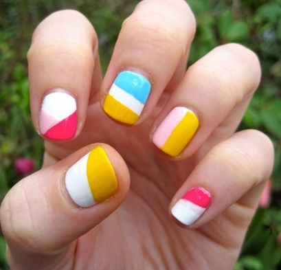 A combination with white and some flashy colors can really make a very cute and trendy nail design as you can see