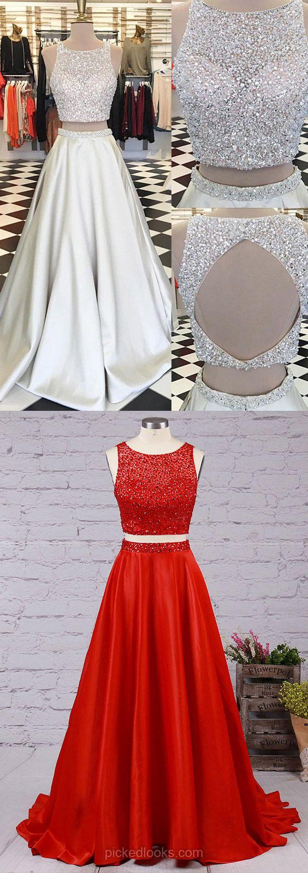 Long Ball Dresses Cheap, White Prom Dresses 2018, A line Evening Dresses Satin, Modest Graduation Dresses for Teens