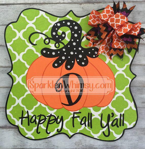 Fall Door Hanger: Quatrefoil Pumpkin Happy Fall by SparkledWhimsy