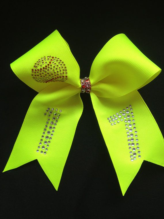 Bright Yellow Softball Bow with Rhinestones Bling by Bowfriendz, $9.99