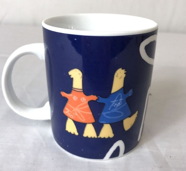 Athens 2004 Olympic Races Coffee Mug Official Mascots Greek Writing AOHNA  | eBay