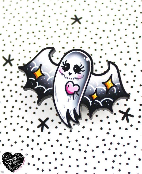 Creep Heart Ghost bat Mini Brooch