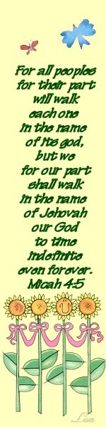 Bookmark made by Lisa Peters~ Micah 4:5~ Sunflowers