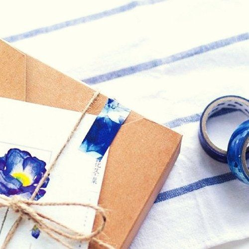 4 washi tape - Midnight secrets - japanese design dark flowers