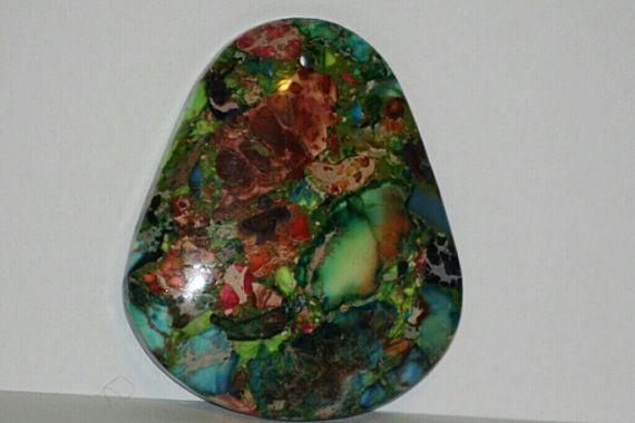 Rainbow Sea Sediment Jasper Pear Shaped Pendant by VirgoGlitter, $5.00