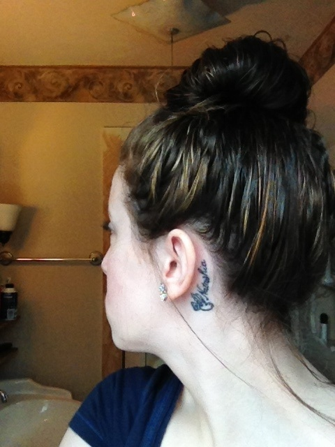 Topknot and behind the ear tattoo :) Ear Piercings