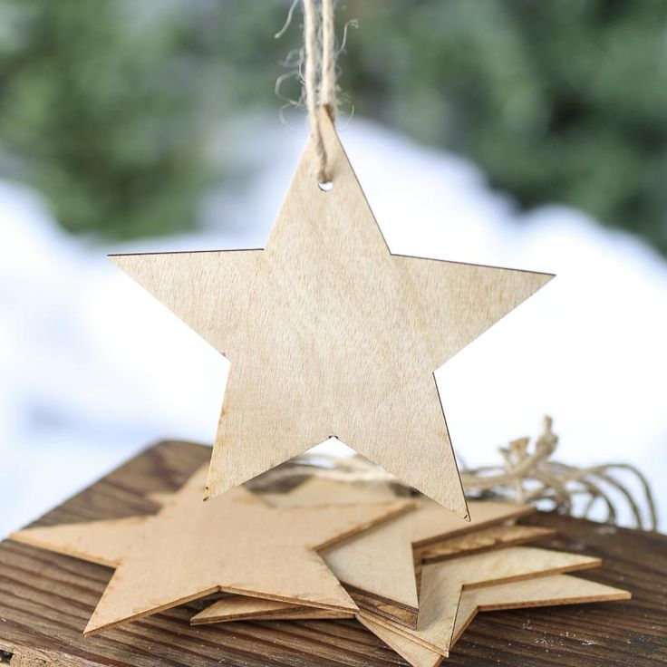 Unfinished Wood Star Laser Cut Ornaments
