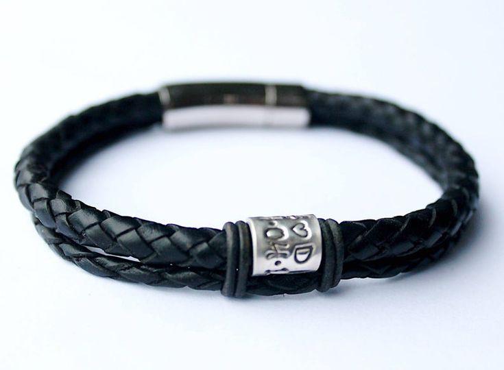 "Black Braided Leather Bracelet Personalised Valentines Gift | Etsy   – ""BareHandsBracelets"" 15."
