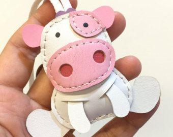 Tamaño pequeño - Rong el encanto de cuero de vaca cuero (bebé rosa y blanco)
