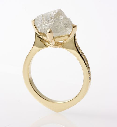 18ct gold 7ct rough diamond ring by Baroque jewellery of Brighton - WOW!
