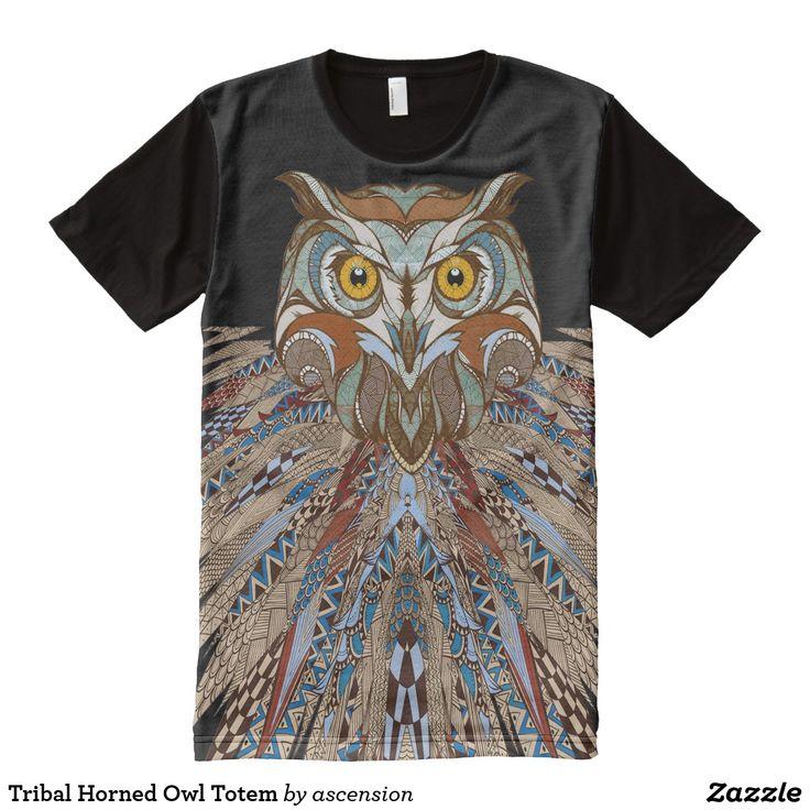 Tribal Horned Owl Totem All-Over-Print T-Shirt