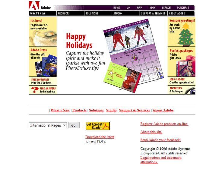 Adobe website in 1996