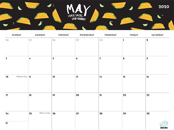 2021 Foodie Printable Calendars for Moms - iMom | Calendar ...
