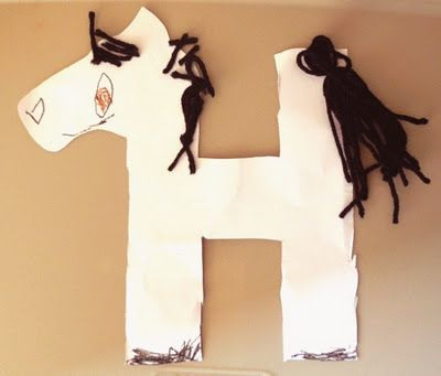 make a horse out of the letter h perfect craft for a preschooler learning their abcs we just did one covered in hearts but this is super cute