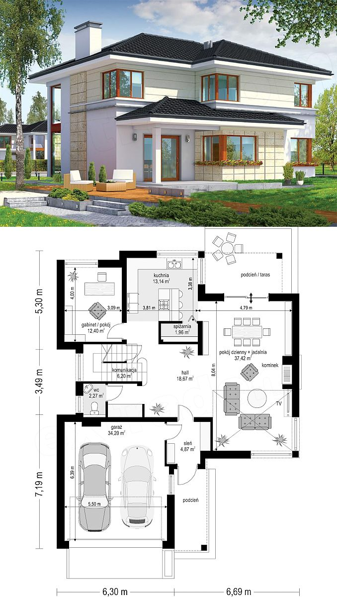 Two Story House Design With 2 Car Garage And Basement Two Story
